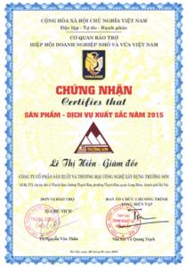 Xây Dựng Trường Sơn nhận Cúp Vàng sản phẩm dịch vụ xuất sắc 2015